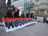 "Wenceslas Square, Prague: Young Czechs display the banner that reads in English: ""Sale - liver, kidneys, lungs, heart - contact Hashim Thaci, Photo: www.kosovoonline.cz"